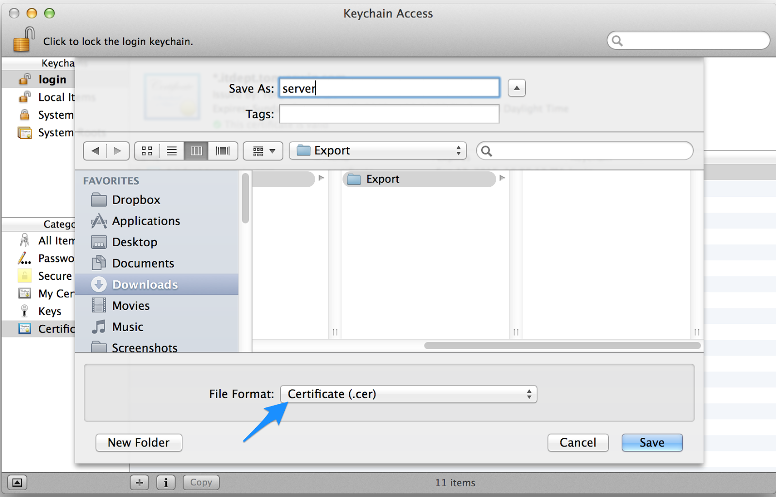 Keychain Access: Export Main Certificate File Choose
