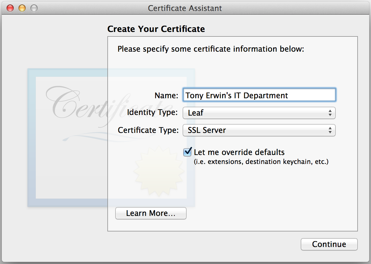 Keychain Access: Create New Certificate