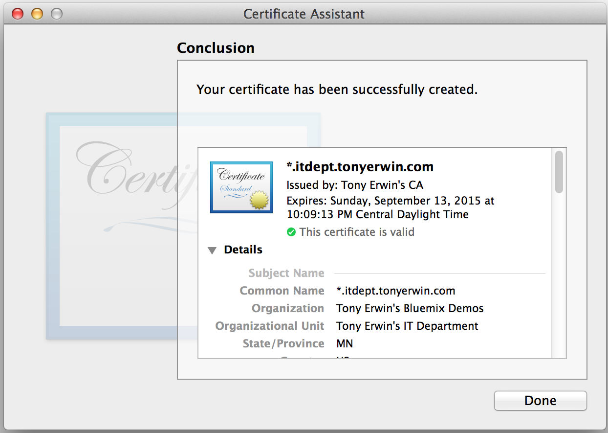 Keychain Access: Create Certificate Conclusion