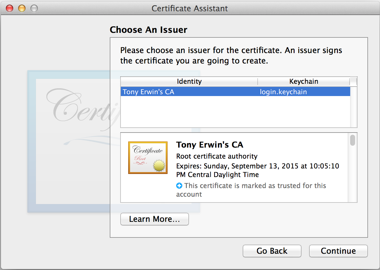 Keychain Access: Choose Certificate Issuer