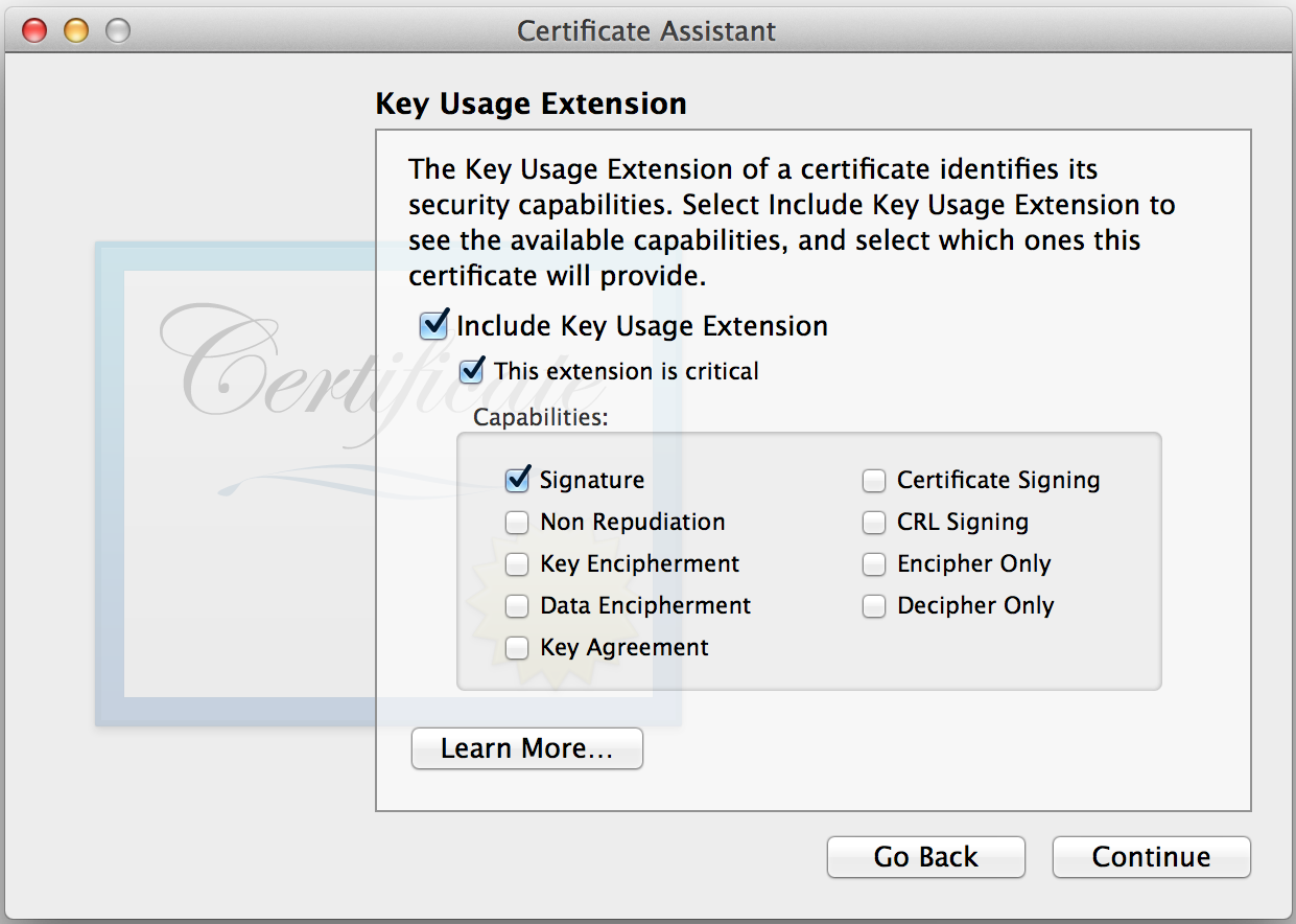 Keychain Access: Key Usage Extension