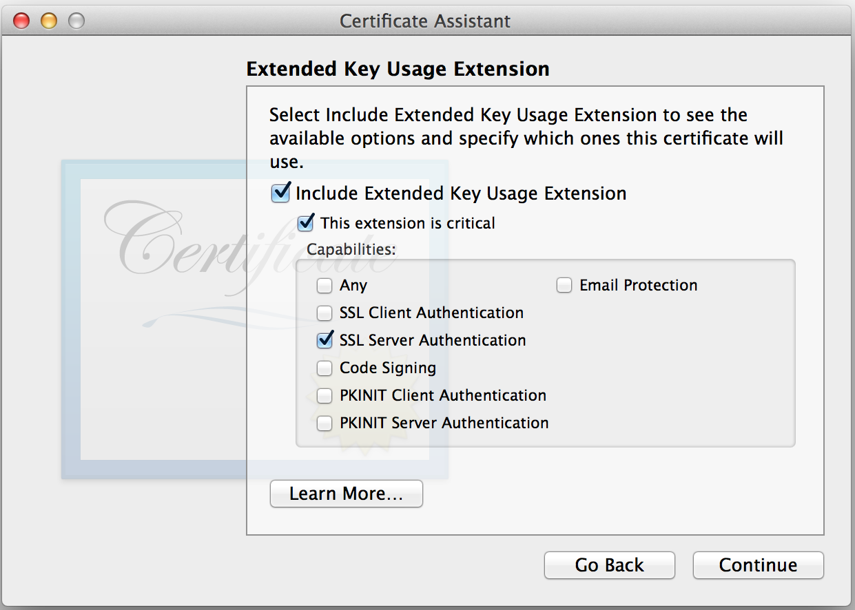 Keychain Access: Extended Key Usage Extension