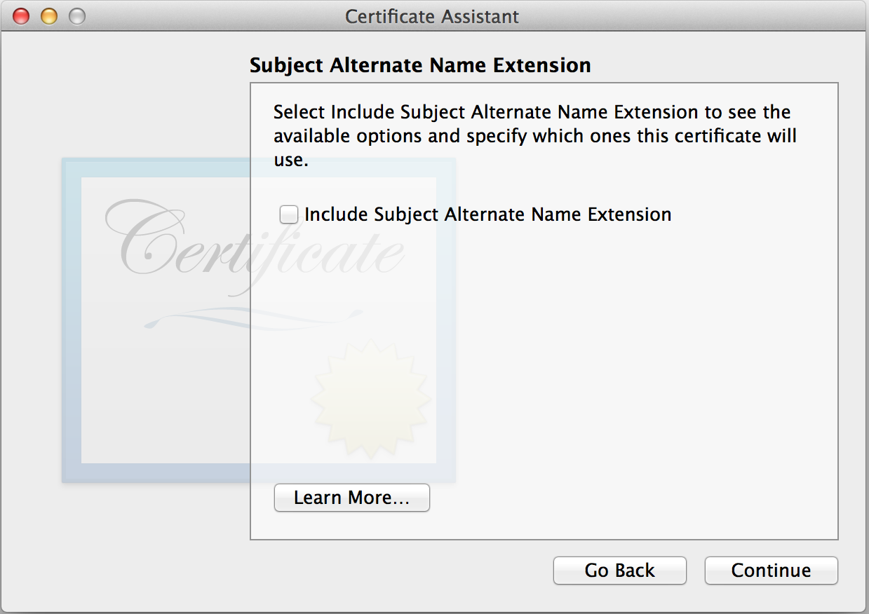 Keychain Access: Subject Alternate Name Extension
