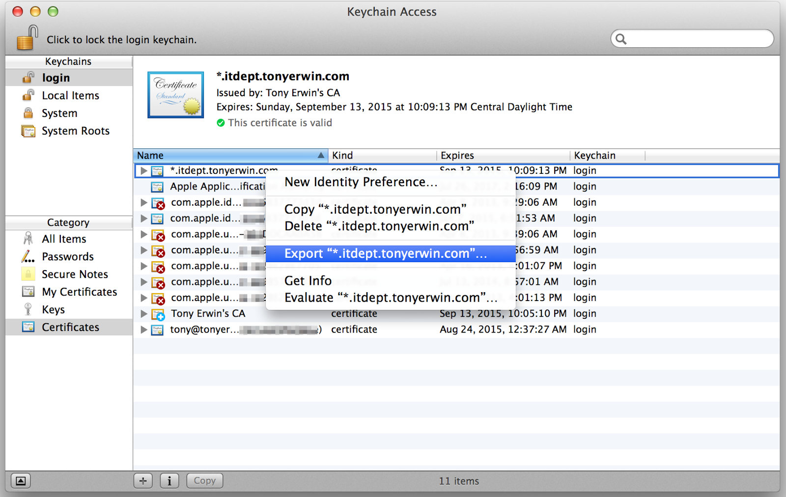Keychain Access: Export Main Certificate