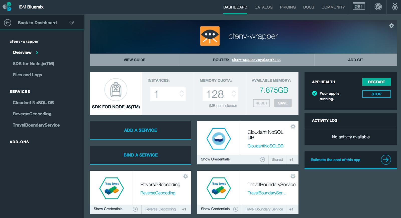 Bluemix UI: App Details for cfenv-wrapper