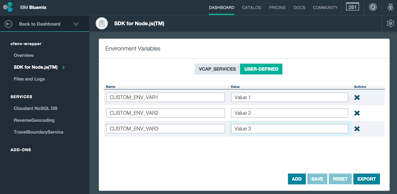 Bluemix UI: Environment Variables for cfenv-wrappe