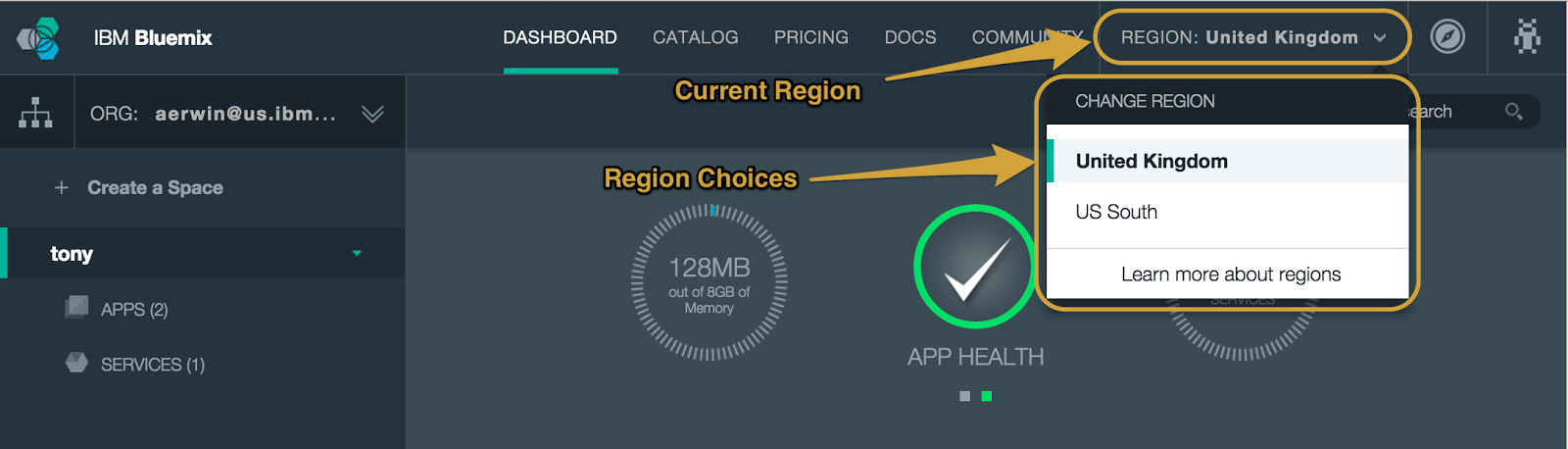 Bluemix UI Updates: Region Selector