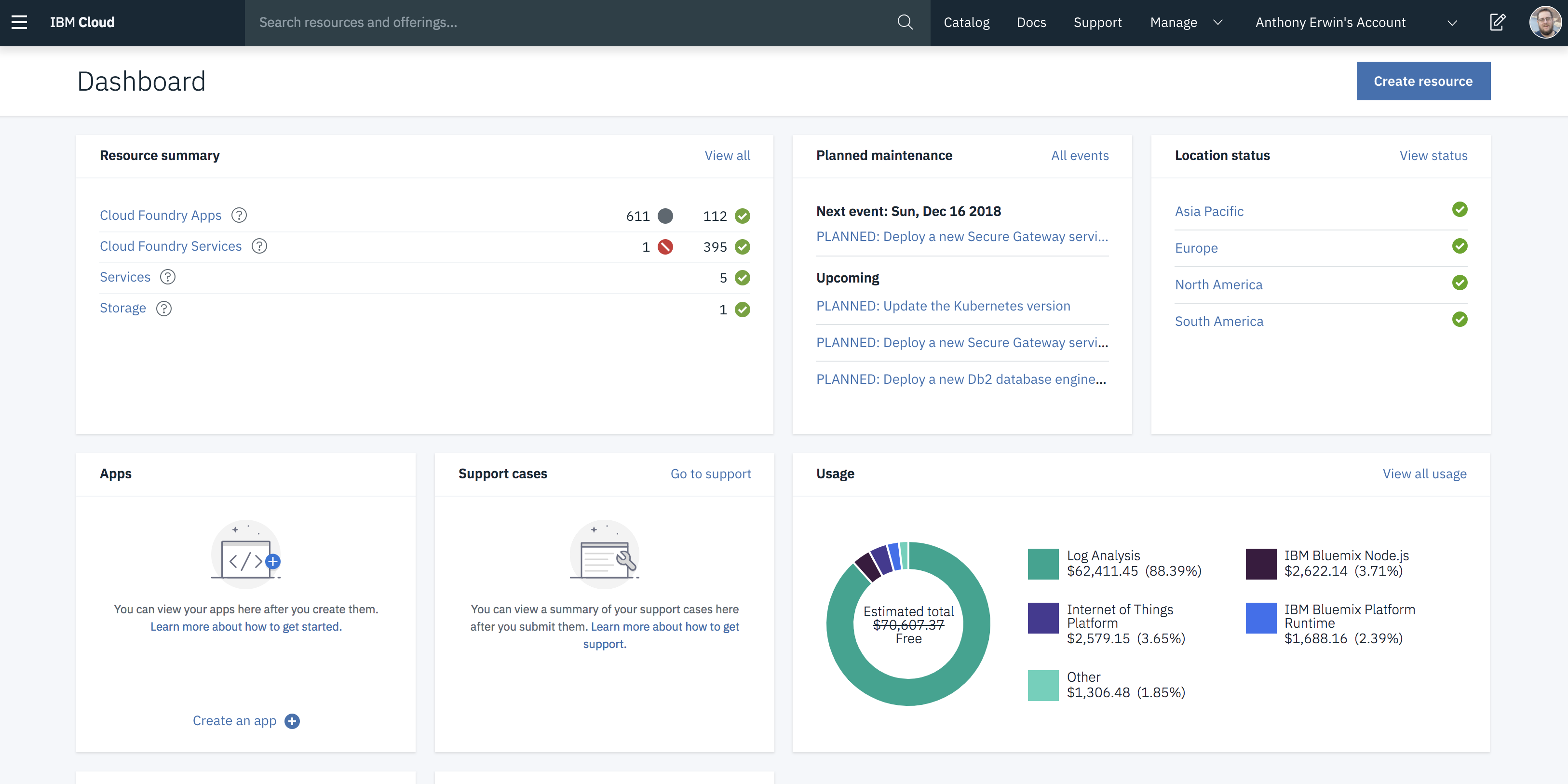 IBM Cloud Console Dashboard